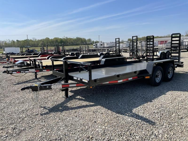 Lone Wolf Trailers 18' Steel Floor Flatbed Trailers w/ ramps - 9990 GVW - BRAKE