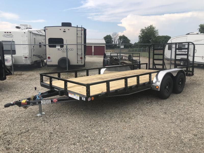 PJ Trailers 7' x 18' Utility Trailer w/ HD Gate - Dove