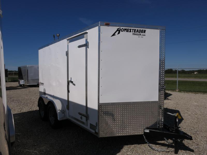 Homesteader 7x12 TA-7 Enclosed Trailer w/ Ramp Door - Side Wall Vents - D Rings - Side Door