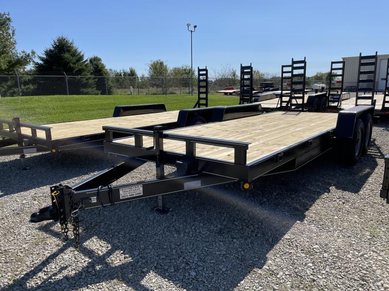 20' Wood Floor Flatbed Trailers w/ ramps - 14000 GVW - BRAKE