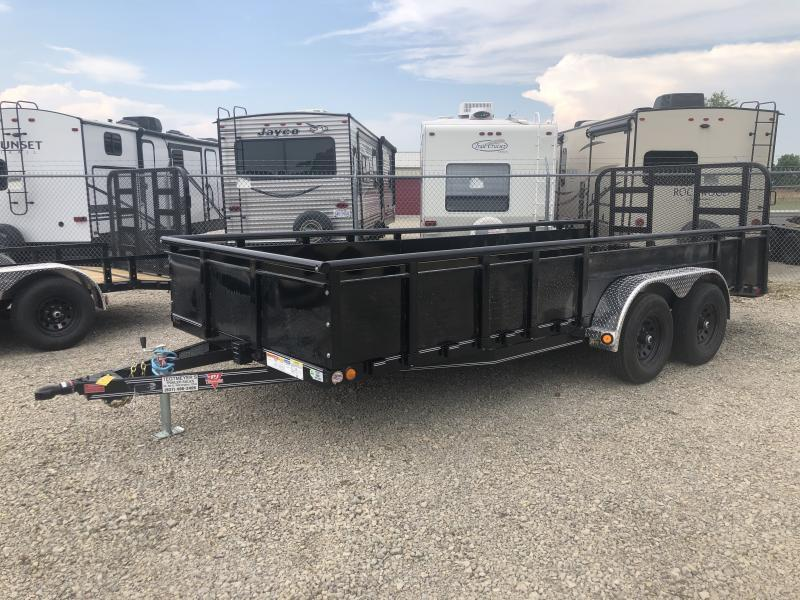 PJ Trailers 7' x 16' Utility Trailer w/ HD Fold Up Gate and 22