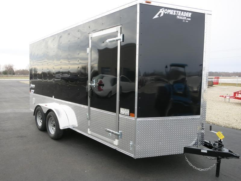 Homesteader Trailers 7x16 Enclosed Trailer w/ Ramp Door - Side Wall Vents - D Rings - Side Door