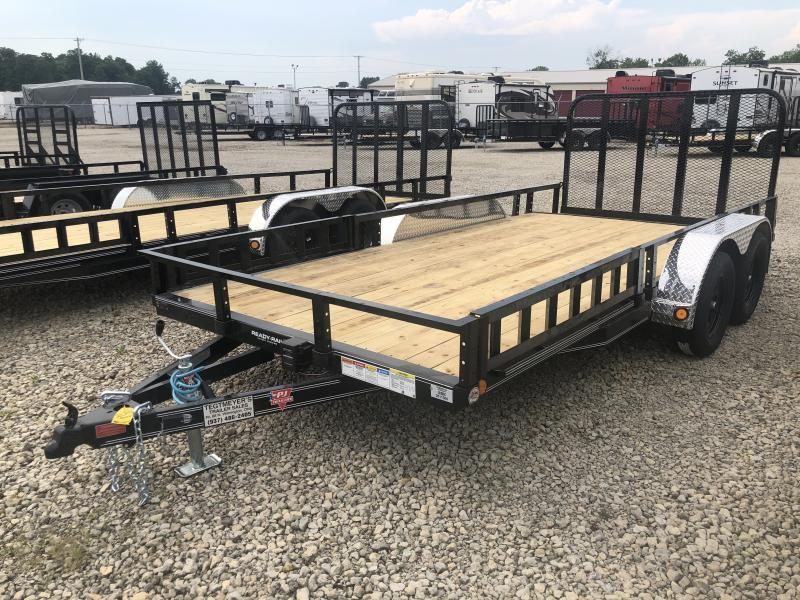 PJ Trailers 7' x 16' Utility Trailer w/ Gate -Side Ramps