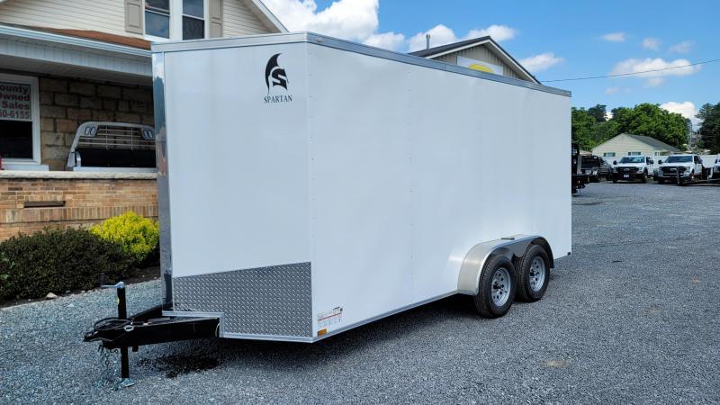 2021 Spartan Cargo 7X16 7K WHITE RAMP DOOR Enclosed Cargo Trailer