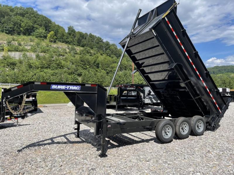 """2021 Sure-Trac 82"""" x 16' 21k Telescopic Dump Trailer with 4ft Sidewall and 7 Gauge Floor"""