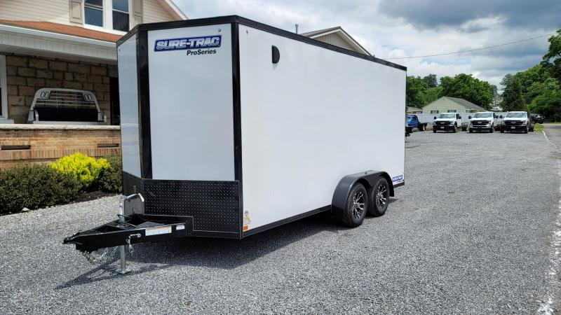 2021 Sure-Trac 7 x 16 Pro Series Enclosed - White w/ Blackout Package - 7Ft Interior Height
