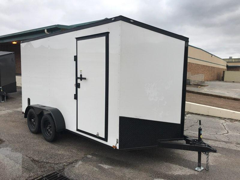 2021 Spartan 7 x 14 x 7  White/Black out Enclosed Cargo Trailer