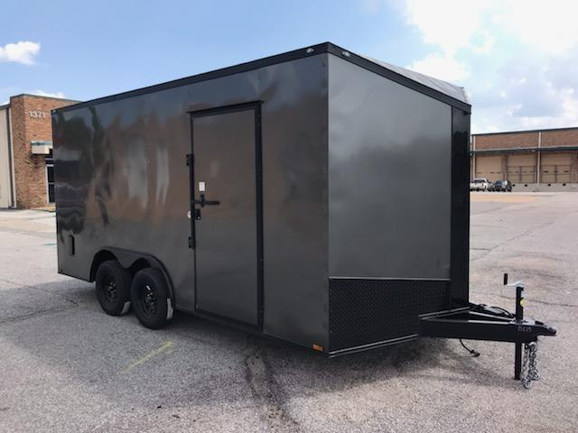2021 Spartan 8.5 x 16 Charcoal Gray Enclosed Cargo Trailer