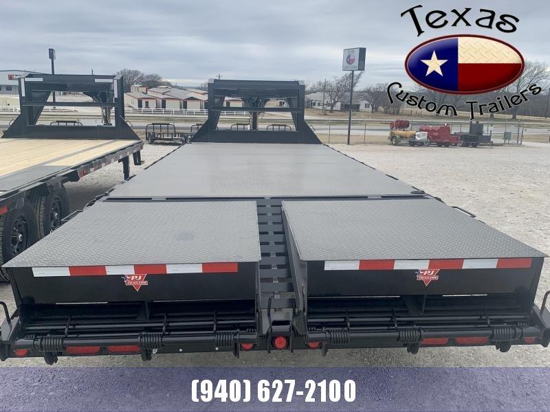 2021 PJ Trailers 25' GN Low Pro Flatdeck w/Singles Flatbed/Equipment Trailer (Steel Floor)