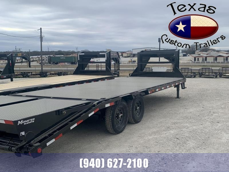 2021 PJ Trailers 25' GN Low Pro Flatdeck w/Singles Trailer (Steel Floor)