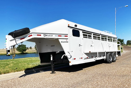2020 24' White Delco Smart Tack Stock Trailer
