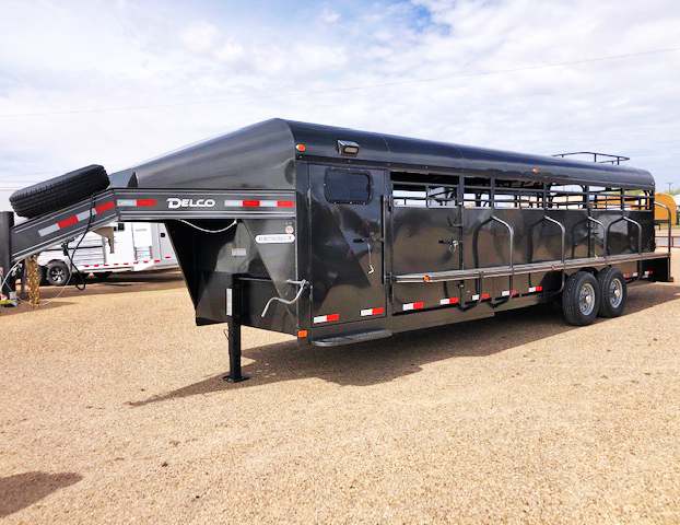 2020 Delco Charcoal Smart Tack 26' Stock Trailer