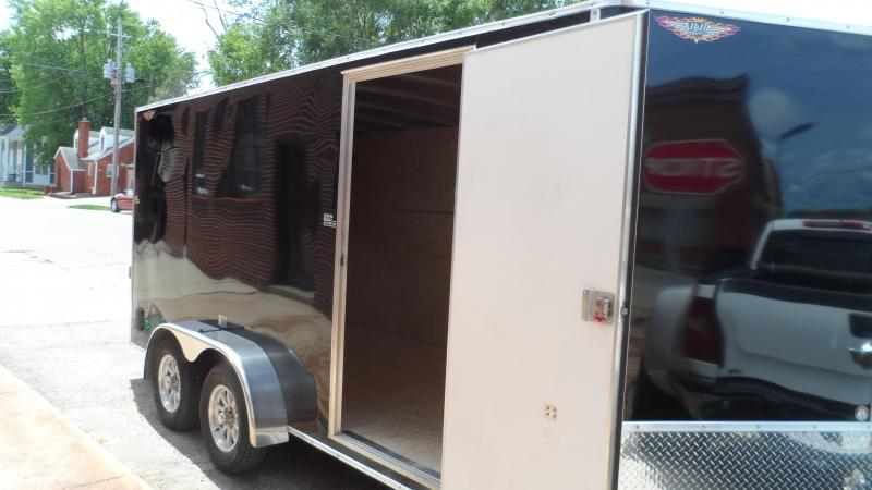 2021 H and H Trailer 7X16 TANDEM FLAT TOP HH VNOSE 7K CARGO