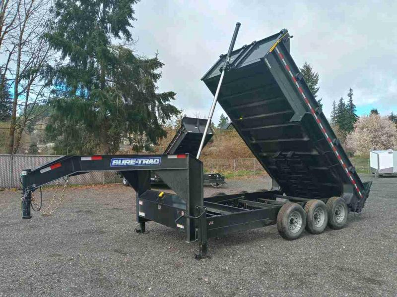 7x16 Gooseneck Dump Trailer 21K Telescopic Dump And Triple Axle