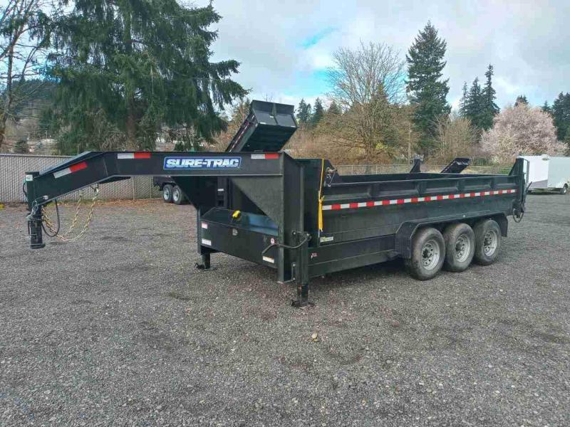 7x16 Gooseneck Dump Trailer 21K Telescopic Dump And Triple Axle