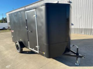 6x12 Enclosed Cargo Trailer  ** Matte Black and Ramp Door  **