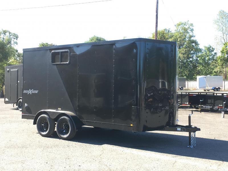 7x14 Enclosed Cargo Trailer Matte Black **Side X Side**