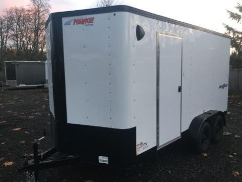 7x14 Enclosed Cargo Trailer White **Side X Side**