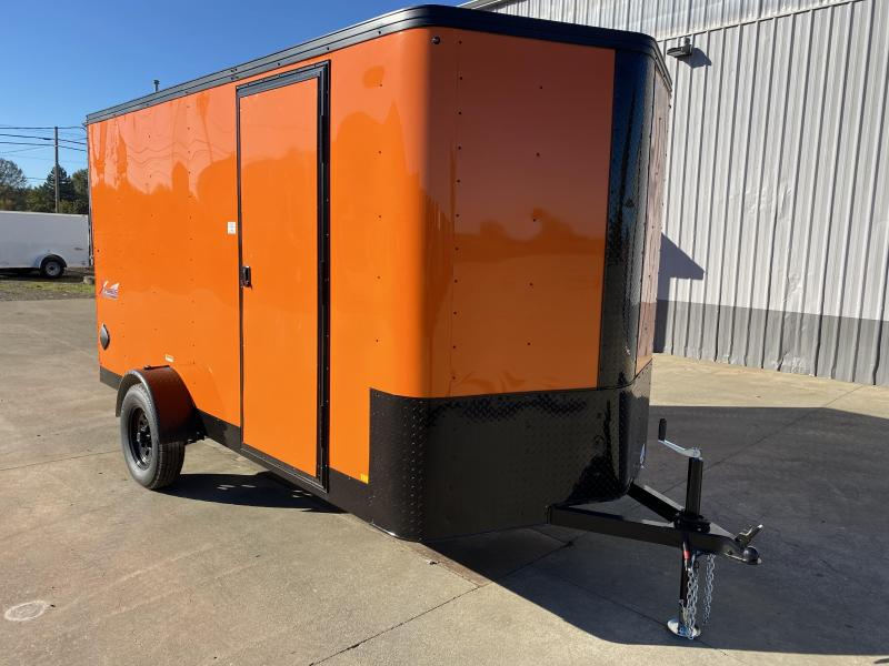 6 x 12 Enclosed Cargo Trailer  ** RV DOOR ** REAR RAMP DOOR ** BLACK MOD WHEELS **