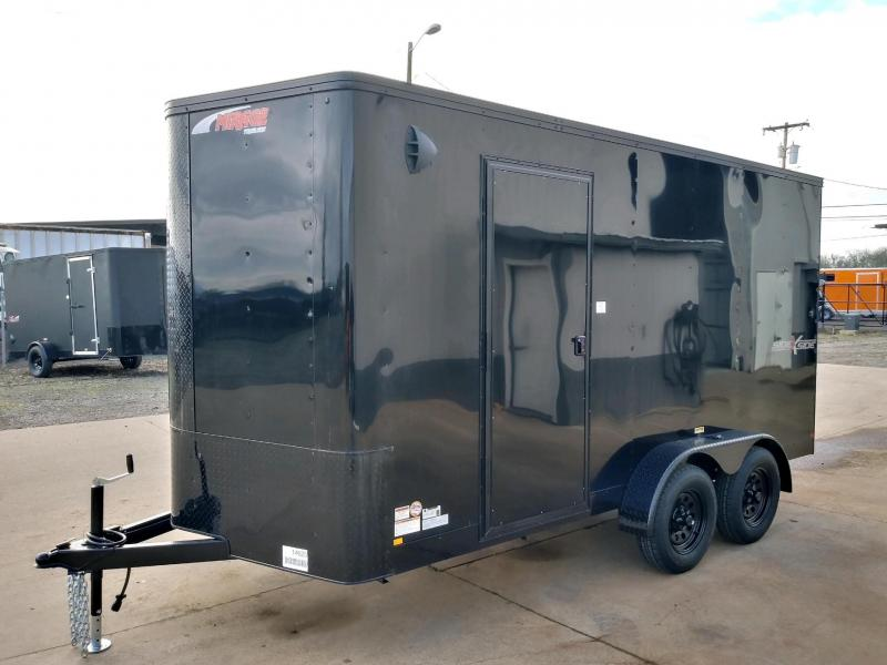 7 x 16 Tandem Axle Enclosed Cargo Trailer ** Black with Pitch Black Side x Side Package **