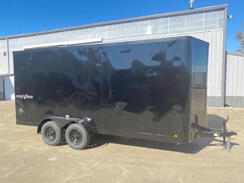 7 x 16 Enclosed Cargo Trailer ** Pitch Black Side x Side Package ** Rear Ramp Door