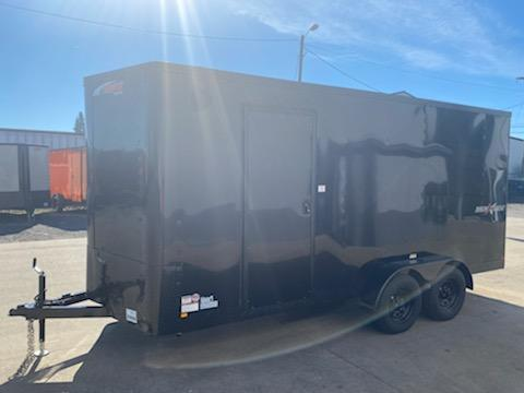 7 x 16 Enclosed Cargo Trailer ** Pitch Black Side x Side Package ** Rear Ramp Door
