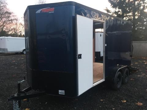 7x14 Enclosed Cargo Trailer Indigo Blue **Side X Side** Pitch Black Package **
