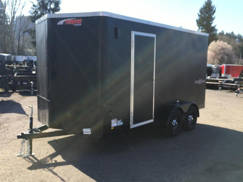 7x14 Enclosed Cargo Trailer Matte Black **Side X Side**