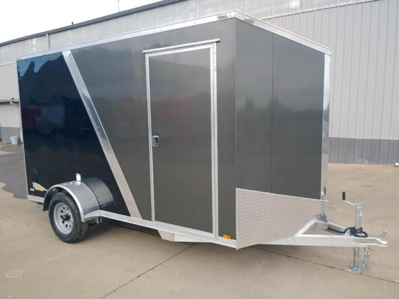 6 x 12 Enclosed Cargo Trailer **All Aluminum  **  Rear Ramp Door  **  6'' of extra height  **  24'' Slanted V Nose  **