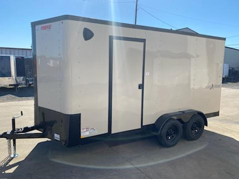 7 x 14 Enclosed Cargo Trailer ** Desert Tan with Pitch Black Side x Side Package **