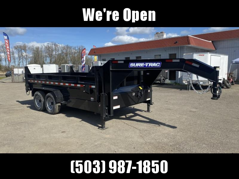 7x14 Gooseneck Dump Trailer 14K Telescopic Dump And Ramps