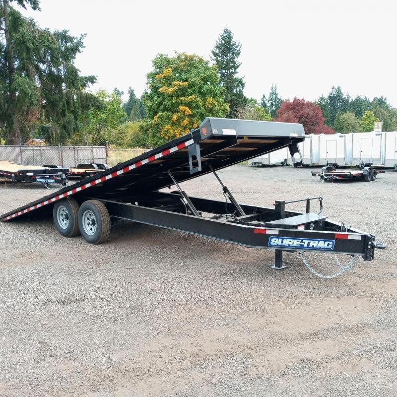 8.5x22 Heavy Duty Low Profile Power Tilt Deck Over Equipment Trailer
