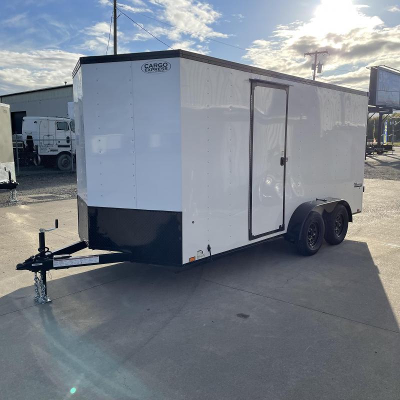 7x16 7k Enclosed Cargo Trailer with Rear Ramp Door **Side X Side**