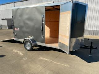 6 x 12 Enclosed Cargo Trailer  **  Charcoal  **  Rear Ramp Door  **