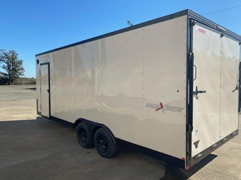 8.5 x 20 Enclosed Cargo Trailer ** Desert Tan with Pitch Black package Side x Side package **