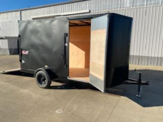 New Mirage 6x12 Enclosed Trailer Matte Black With Blackout and Rear Ramp
