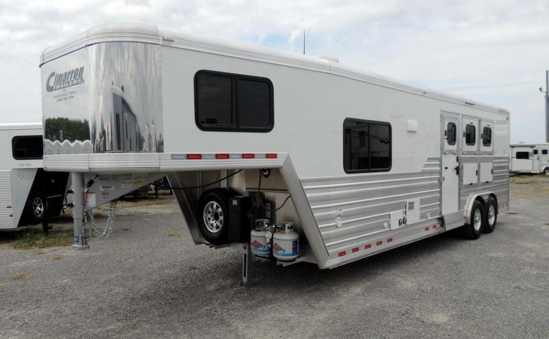 "2021 Cimarron 10 8"" Outback Customs 3 Horse Trailer"