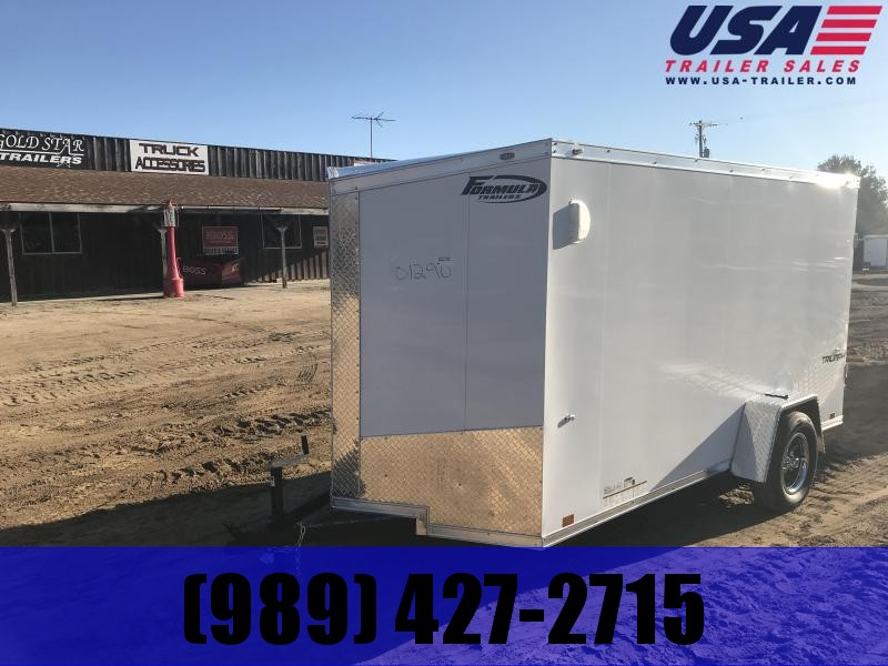 2019 Formula Trailers 6x12 White Ramp Enclosed Cargo Trailer