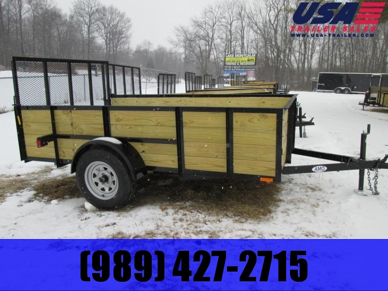 2021 AMO 5x10 Wood Side High Side Utility Trailer