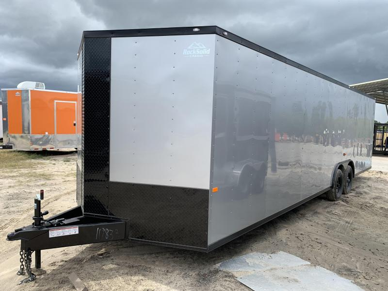 New 8.5x28-5200lb Silver Frost Blackout Package Enclosed Cargo Trailer