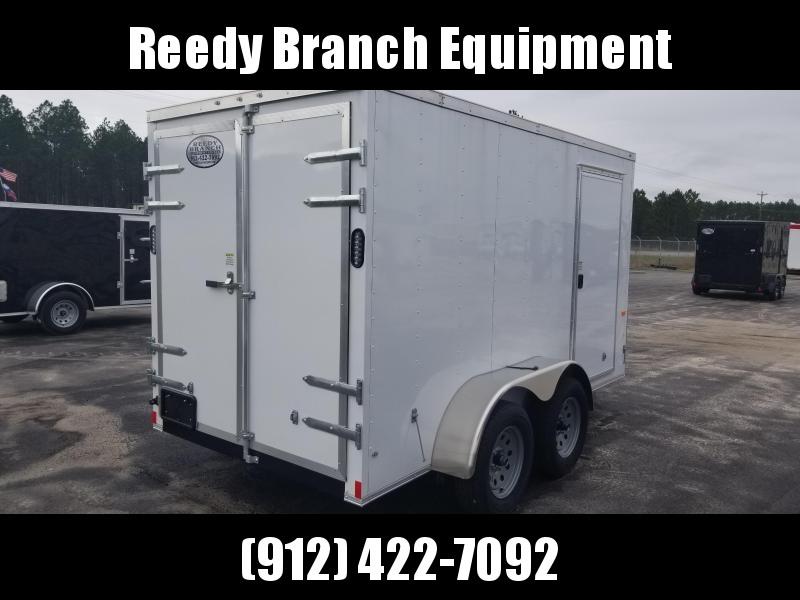 New 6x12 Barn Doors Tandem Axle Enclosed Cargo Trailer (White)