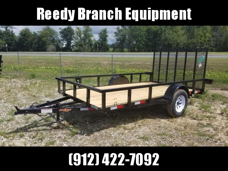 "2021 (76""X12') Down 2 Earth Utility Trailer - white mod rims."