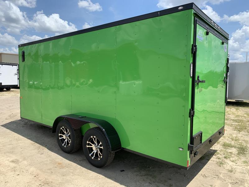 New 7x16 Electric Green Blackout Trailer