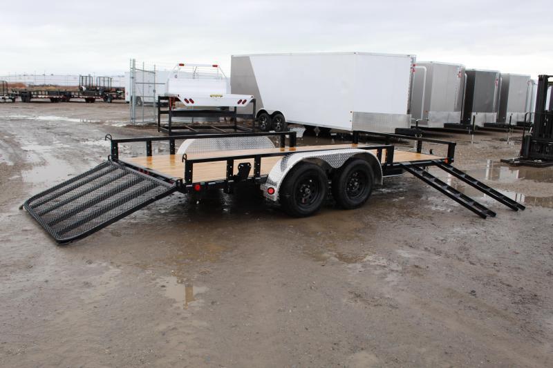 PJ Trailers 7x16 Tandem Axle Channel (UL) Utility Trailer 2 Brakes
