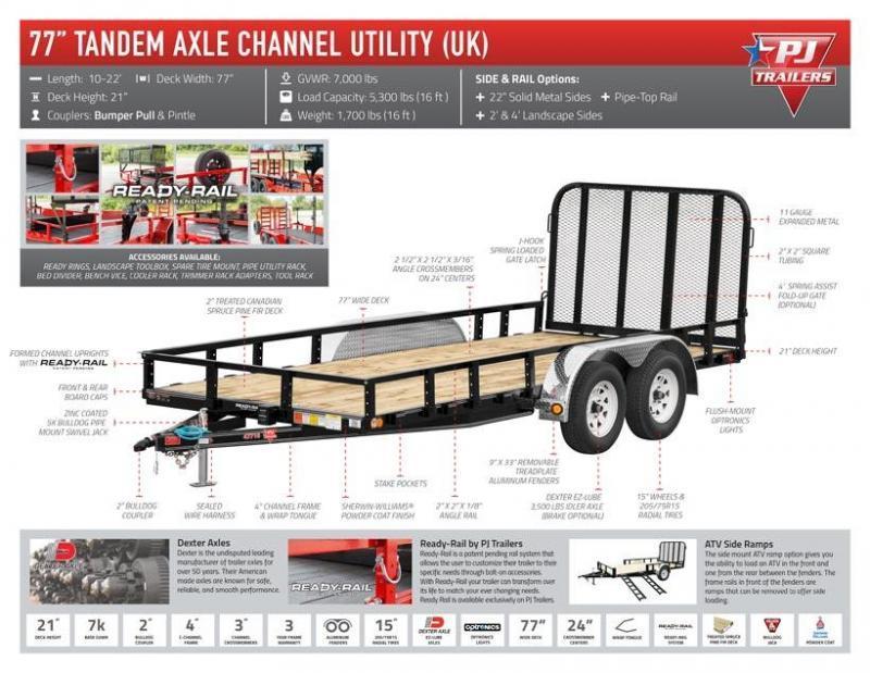 PJ -  6.5x14 - Tandem 3.5k - UK - Channel Utility Trailer