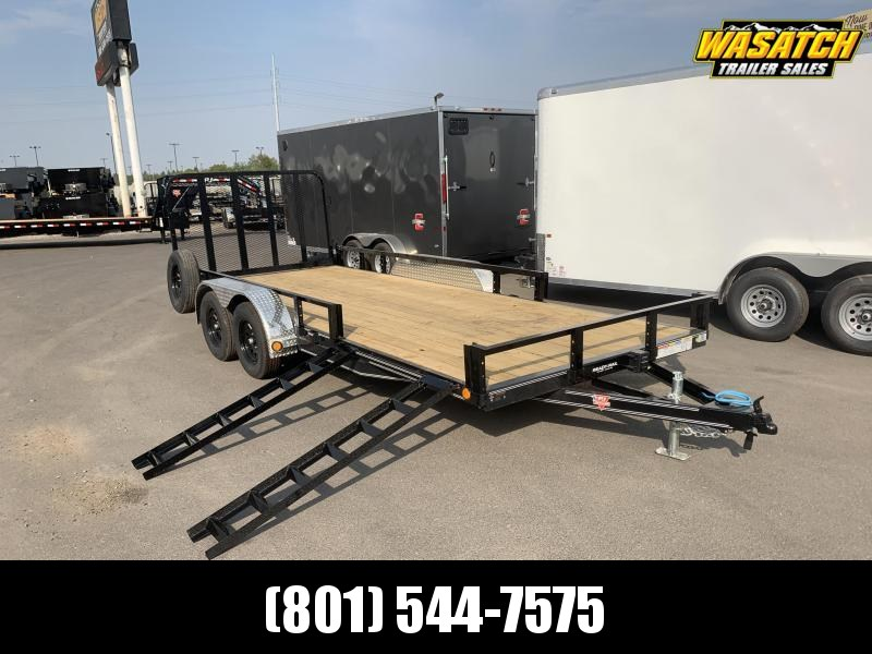PJ 7x18 Tandem Axle Channel Utility (UL) w/ ATV Ramps