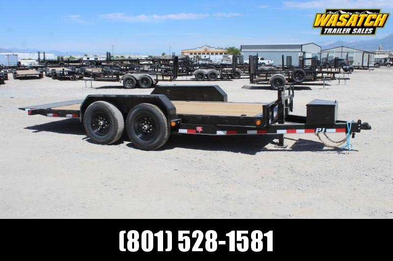 "PJ Trailers 7x16 6"" Channel Equipment Tilt (T6) Equipment Trailer"