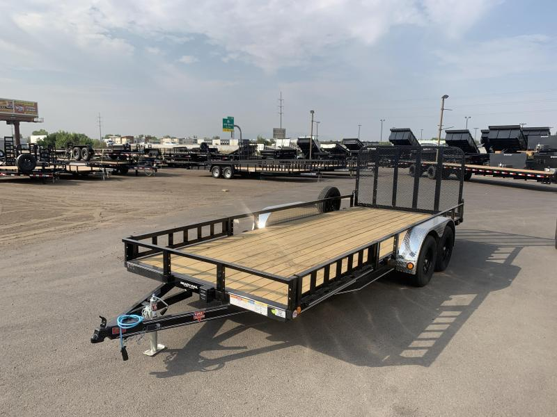 PJ 7x18 Tandem Axle Channel Utility (UL) w/ ATV Ramps