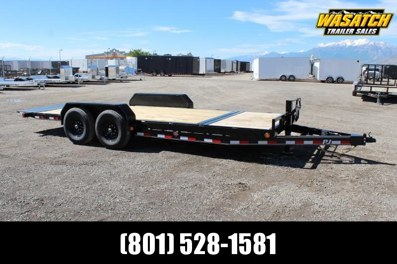 "PJ Trailers 7x20 6"" Channel Tilt (T6) Equipment Trailer 14 Ply Tires"