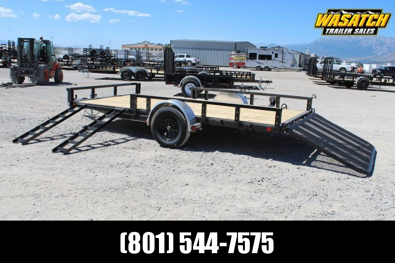 PJ 7x14 Single Axle Channel (U8) Utility w/ ATV Ramps